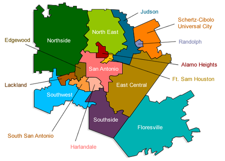 Picture School district map, City north, San antonio