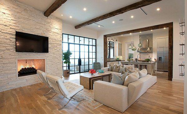 Modern Living Room Interior Design Fireplace Elegant Furniture Decorative Ceiling  Beams