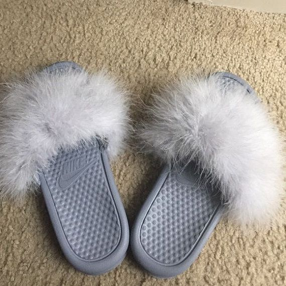97dceed5e Grey Fur Nike Slides any color fur by Designsbykaemiyan on Etsy ...