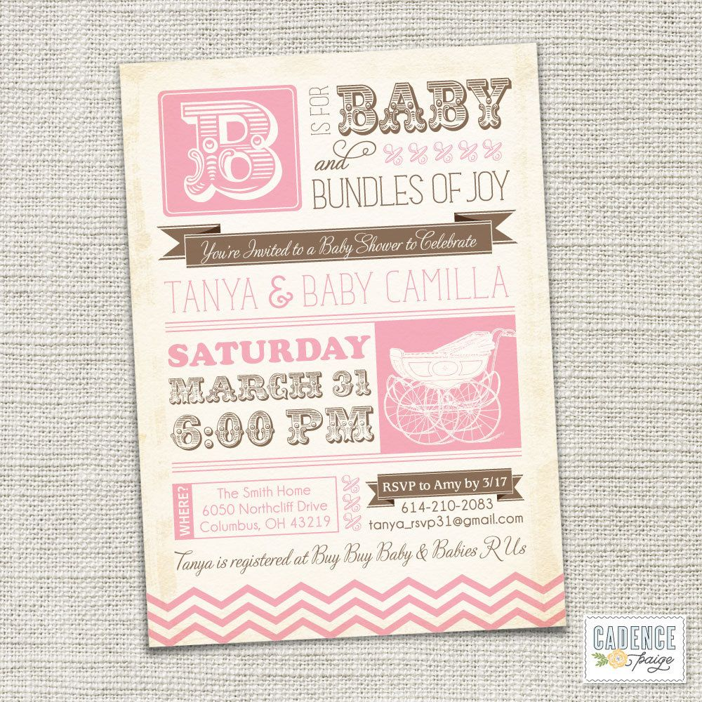 Baby Shower Invitation, Baby Carriage, Vintage Baby Shower, Poster ...