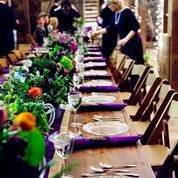 green and purple tablescape