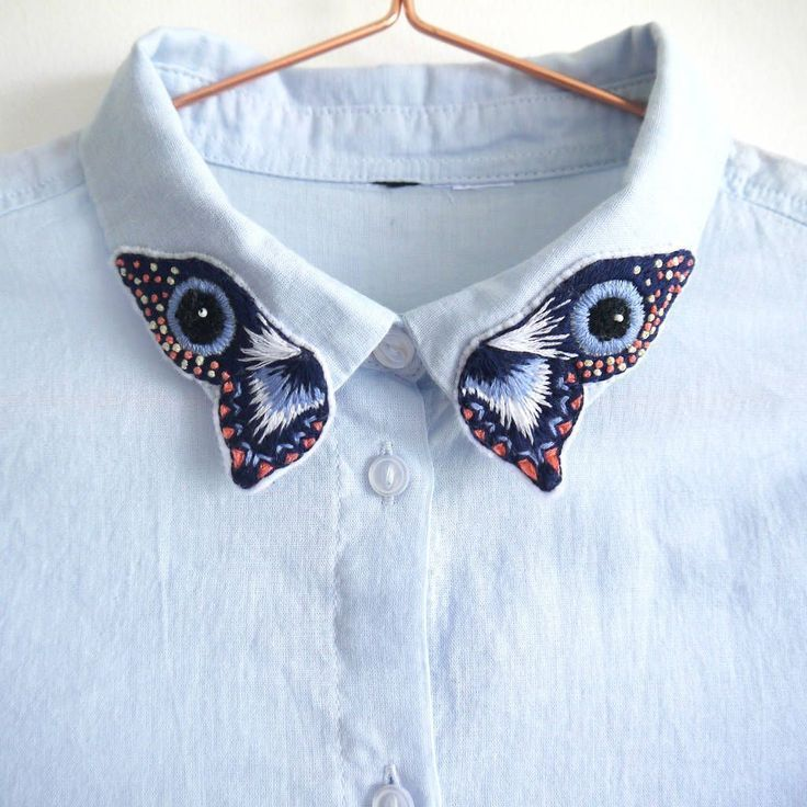 [ VISIT FOR MORE Embroidered Butterfly Collar Shirt #jeans The post Embroidered …