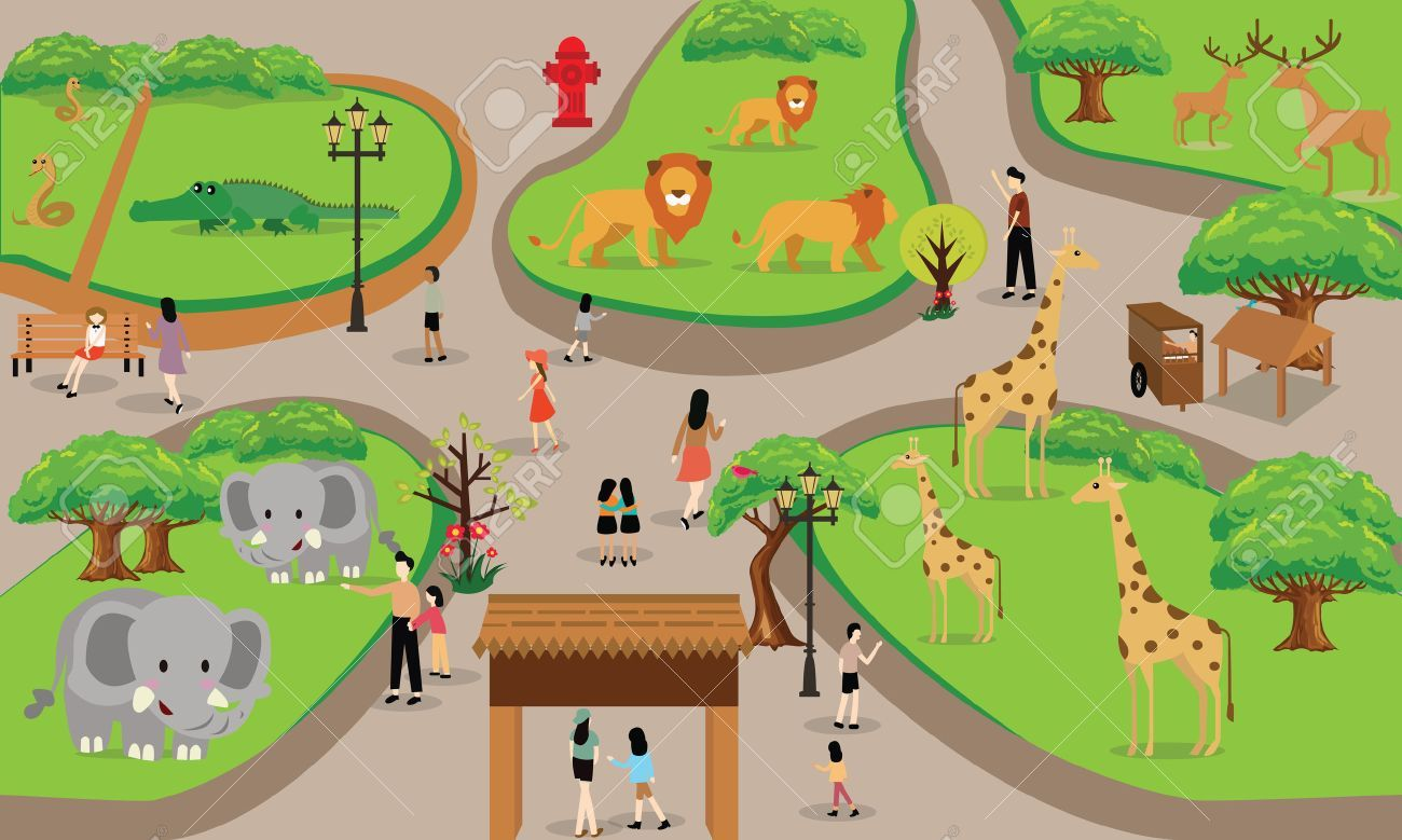 zoo cartoon people family with animals scene vector