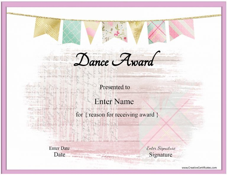 Dance certificate template with a pink banenr and a pink frame - kids certificate templates