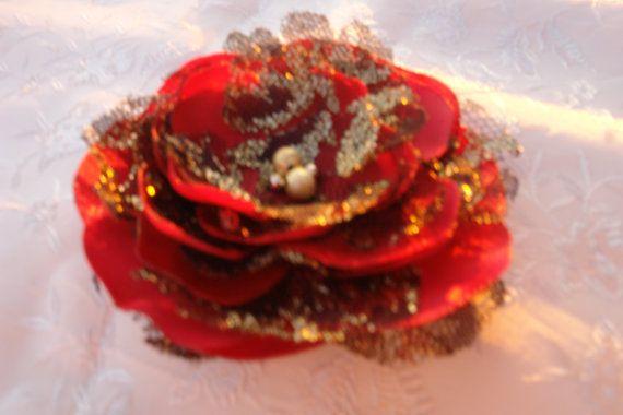 Flower Brooch Red Flower Hair Clip-Vintage by LudasPreciousDesigns