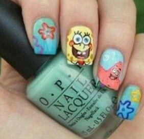 Spongebob Squarepants and Patrick Star nail art