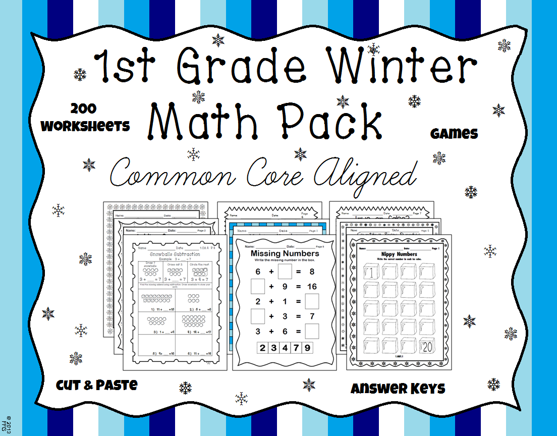 1st Grade Winter Math Packet