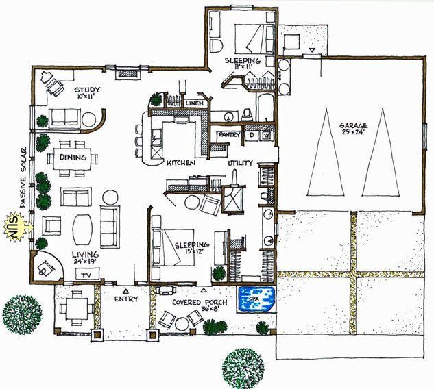 Ranch bright open energy efficient solar home solar for Passive energy house design
