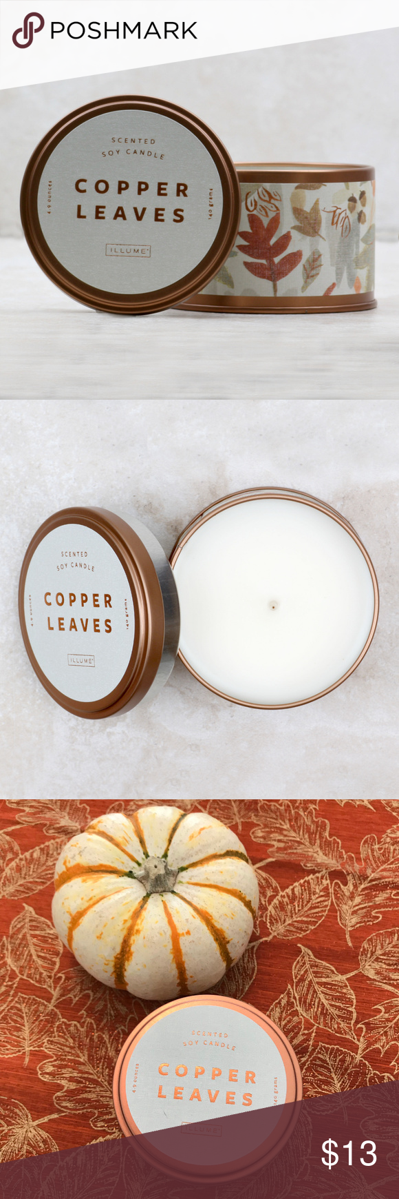 Autumnal Equinox Tin Copper Leaves Candle Price is FIRM. Notes of roasted chestnuts, cinnamon and coconut create the quintessential fragrance of fall. BURN TIME: 20 Hours Illume Other #autumnalequinox