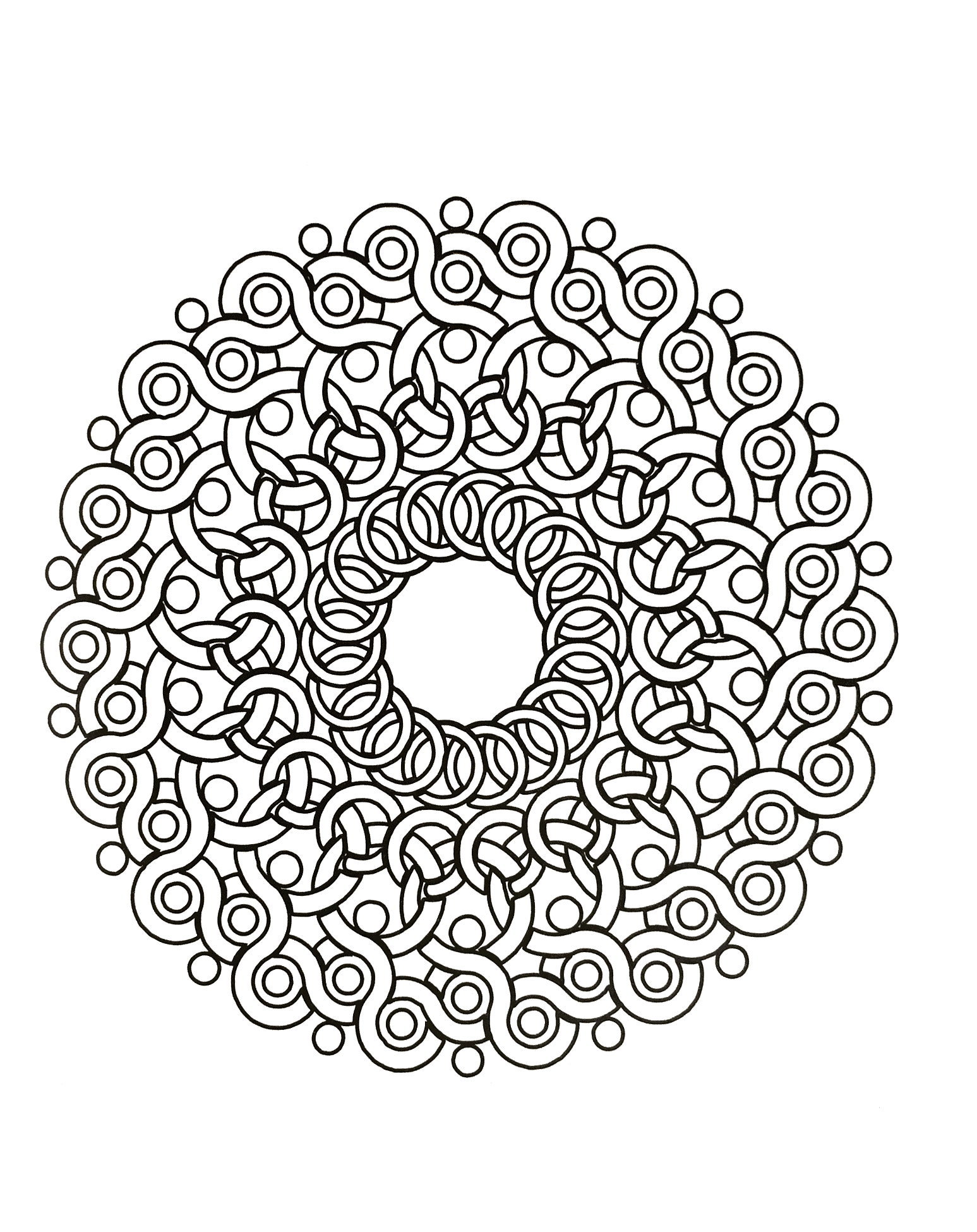 free mandalas page mandala to download free mandala drawing made with rings not too. Black Bedroom Furniture Sets. Home Design Ideas