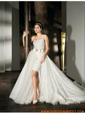 db551a9ebad Robe de mariage courte brillante avec jupe amovible