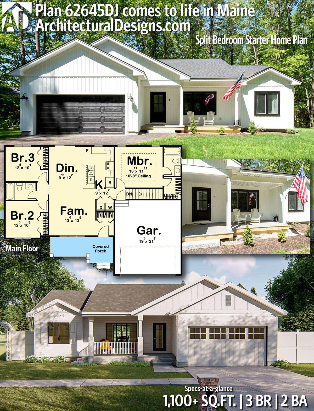 Plan 62645dj Split Bedroom Starter Home Plan House Plans Starter Home Plans New House Plans