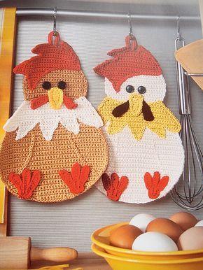 Ravelry: Huhn Topflappen - Chicken Potholder pattern by Petra Tornack-Zimmermann ♡ Teresa Restegui http://www.pinterest.com/teretegui/ ♡