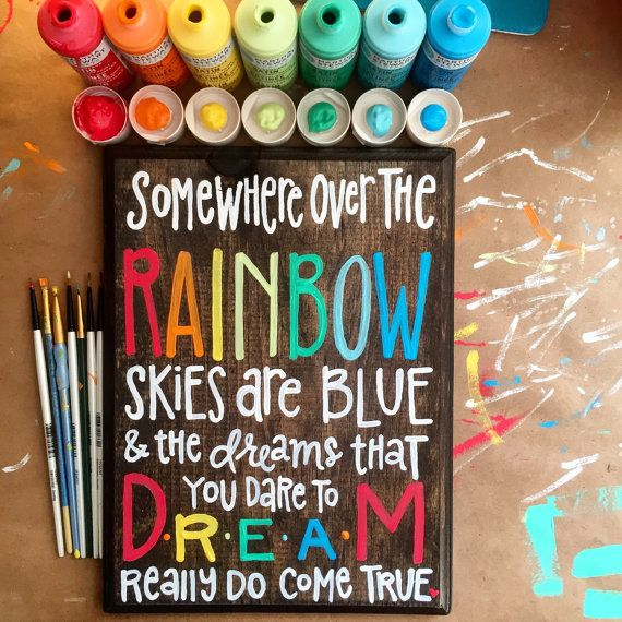 Somewhere Over The Rainbow Wooden Sign By