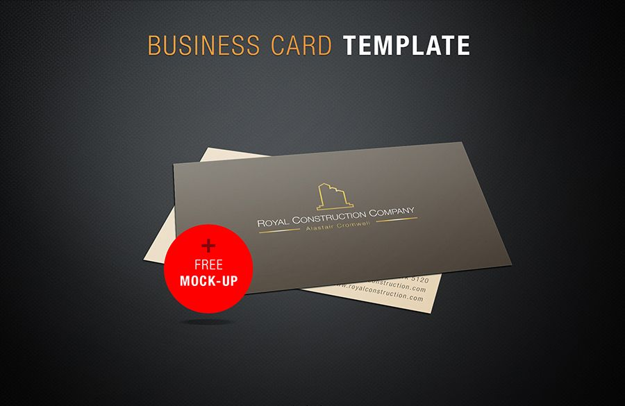 Free Business Card Mock Up Template PSD Card Templates Pinterest - Construction business cards templates free