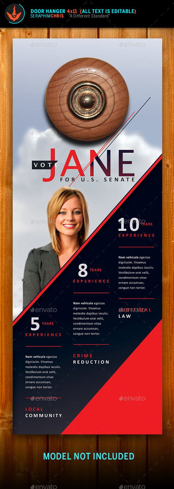 Vote Jane  Political Door Hanger Template  Door Hanger Template