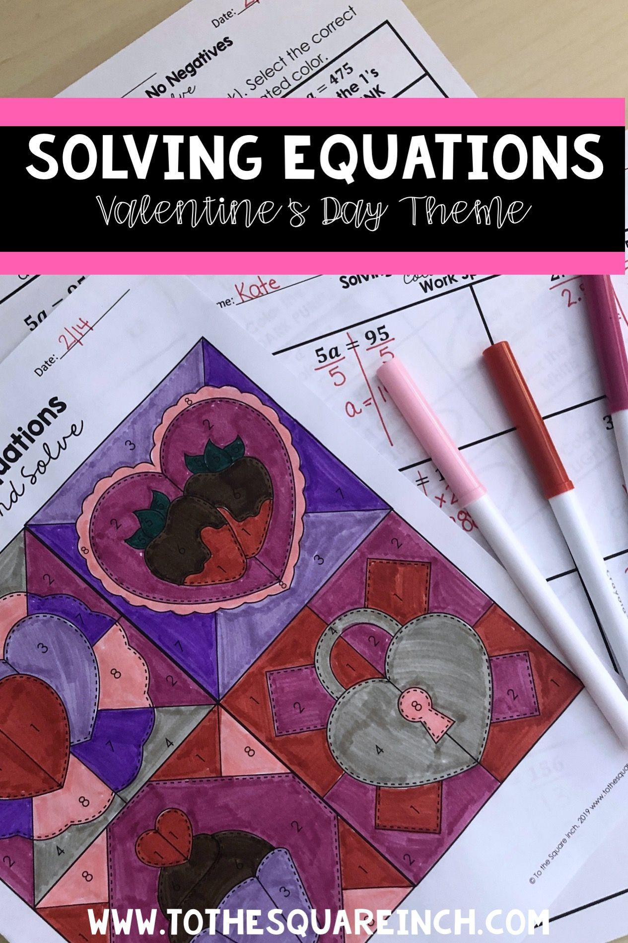 Solving Equations Valentines Day Color And Solve