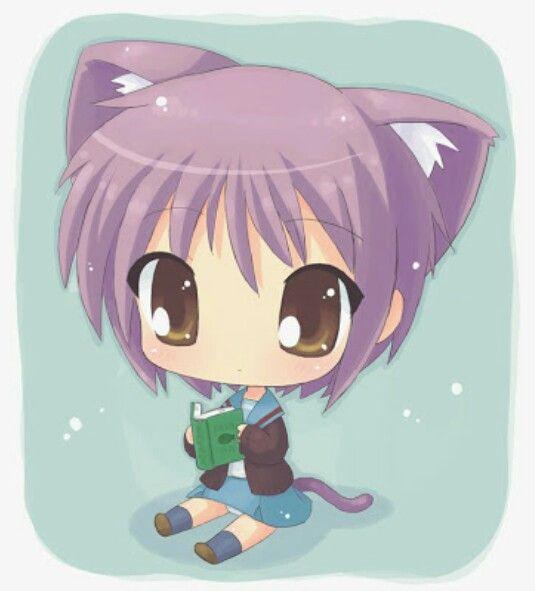 Cute Lavender Cat Girl Chibi Anime Chibi Kawaii Chibi