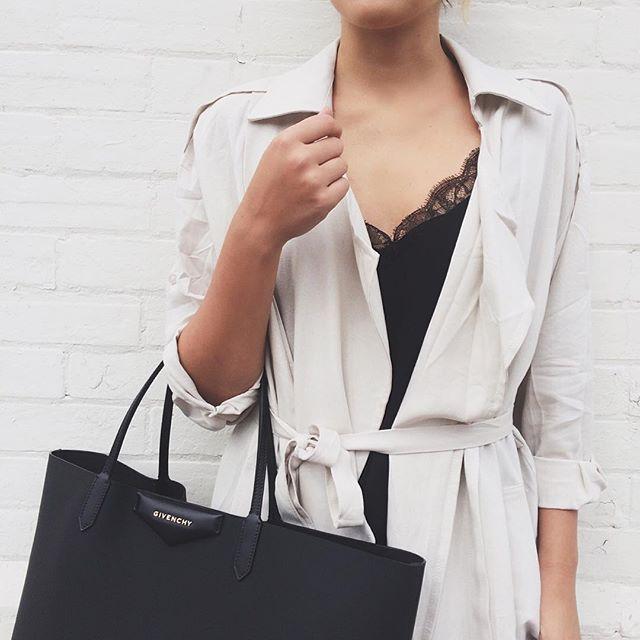 white coat + #givenchy handbag