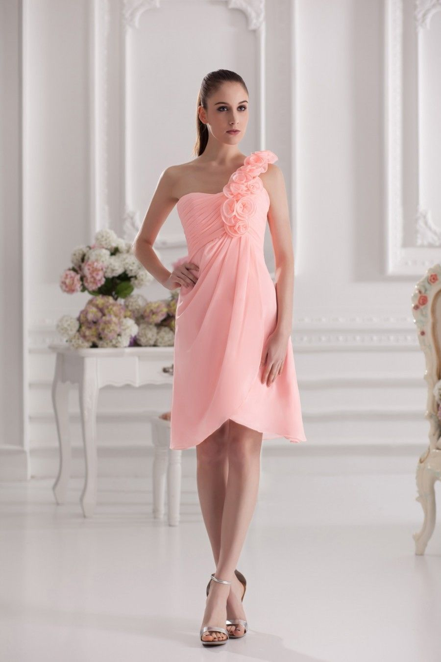 Sommer One Shoulder Blumen Kurzes Cocktailkleid Aus Chiffon $311.99 ...