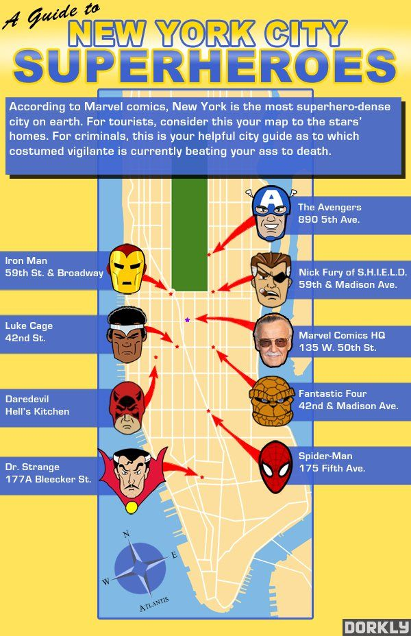 Marvel Map Of New York.Superhero Star Map New York City Is The Place Things I Like