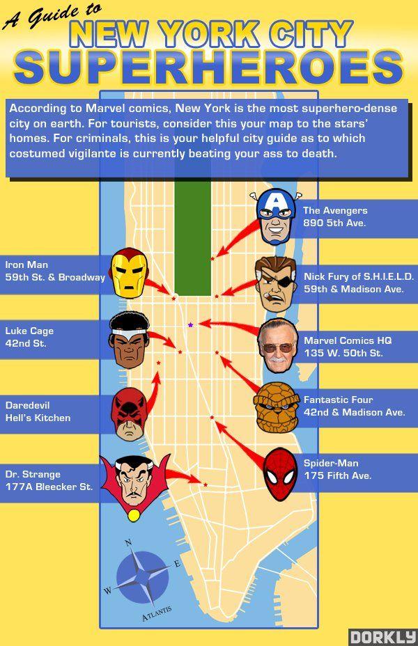 Superhero Star Map New York City Is The Place Marvel Comics