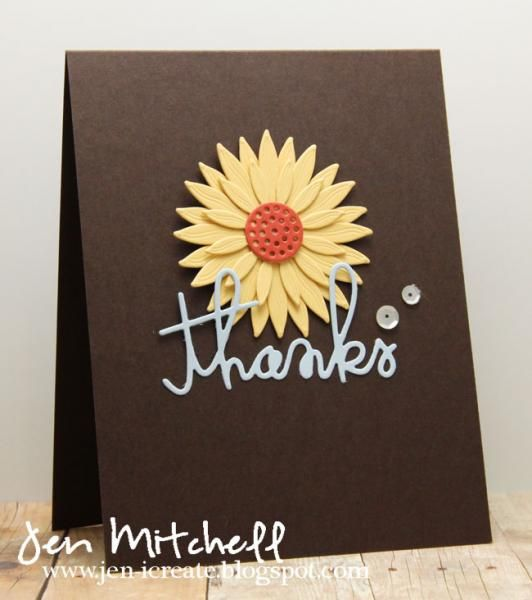 Thanks sunflower die (my favorite things), thanks word die (paper - how to make a thank you card in word
