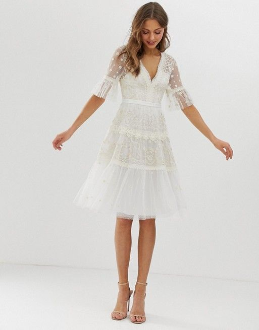 Needle & Thread embroidered midi dress with flutter sleeve in ivory -   17 white dress Midi ideas