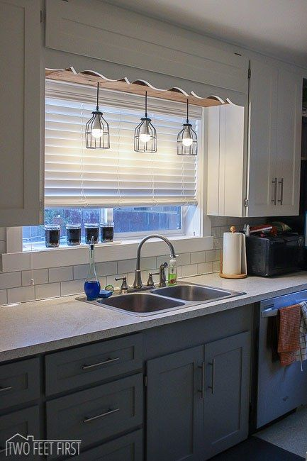 Diy pendant light pinterest sinks kitchens and lights to kick off our kitchen remodel the first thing we did was remove the boring fluorescent light above our kitchen sink who likes a plain light anyway aloadofball
