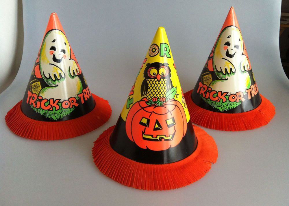 3 Vintage Halloween PARTY HATS Clever Idea Co Decorations Ghost Pumpkin Trick