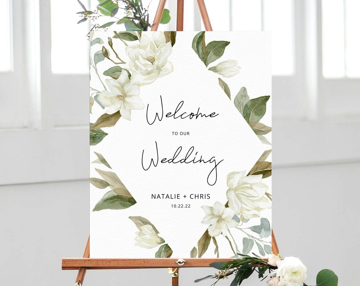 Magnolia Wedding Welcome Sign Template Welcome To The Wedding Printable Welcome To Our Wedding Board Instant Download Templett W35 Wedding Welcome Signs Welcome To Our Wedding Wedding Welcome Board