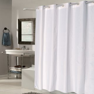 Ez On White Check Fabric Shower Curtain Liner With Built In Hooks