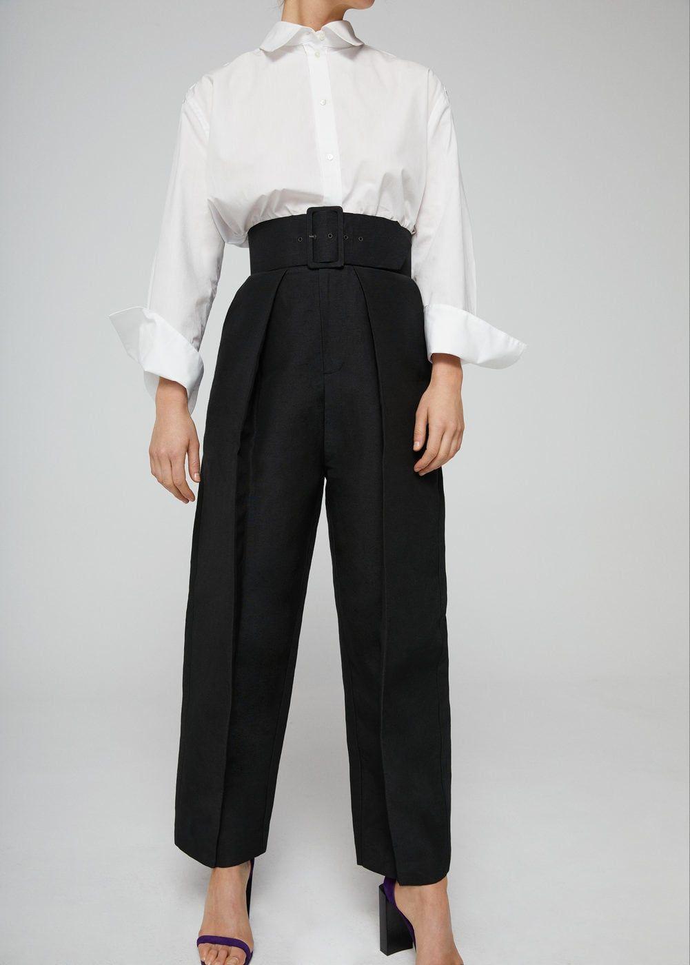 más cerca de variedades anchas Venta barata Pantalón lino cinturón - Mujer   Pantalones   Mango trousers ...