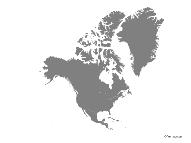 Grey Map Of North America With Countries Free Vector Maps North America Map Map Vector North America