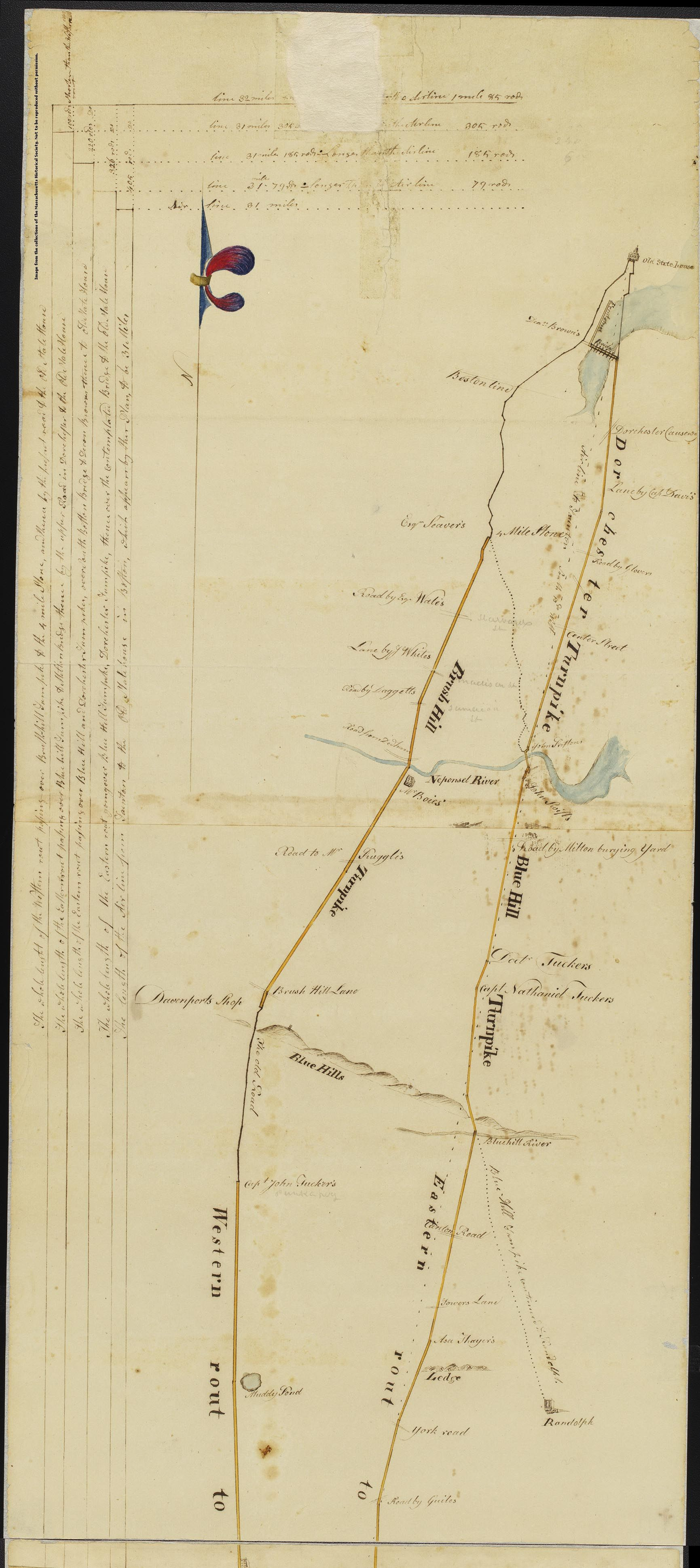 MHS Collections Online: Manuscript plan of the turnpike to Taunton, 1 April 1806