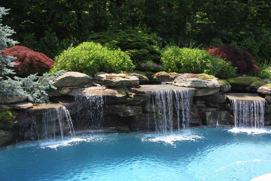 Water Feature Swimming Pool And Landscape In Bergen County