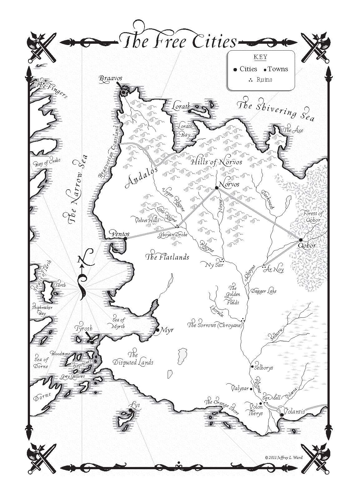 Game Of Thrones Map Pdf : thrones, Thrones, Map-the_free_cities.jpg, (1150×1575), City,, Dance, Dragons