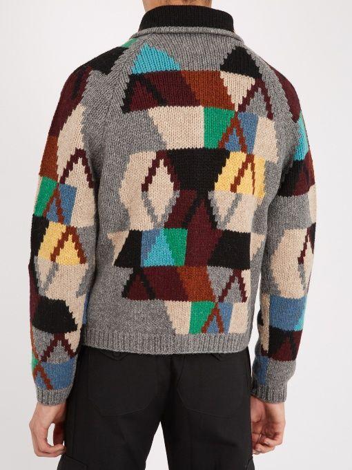 Cardigan Wool Wool Geometric Geometric Prada Intarsia Wool Intarsia Prada Intarsia Prada Cardigan Cardigan Geometric w0r0YBqnU
