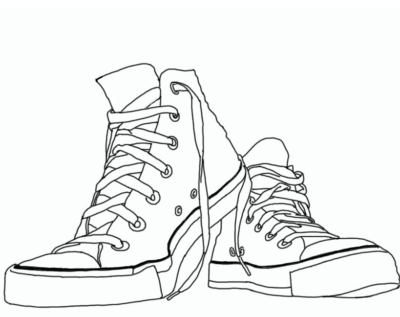 Contour Line Drawing Of Shoes : Converse shoe color page click on image to get full view