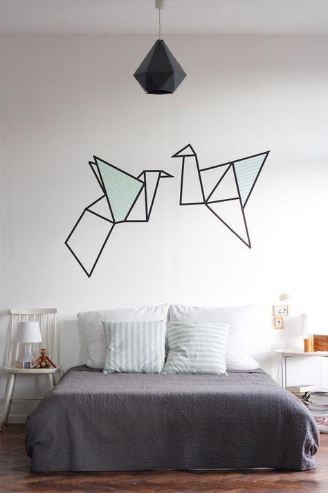 27 Washi Tape Ideen Und Kreative Einsatzmoglichkeiten Schlafzimmer Wand Designs Schlafzimmer Diy Einrichtungsideen Schlafzimmer