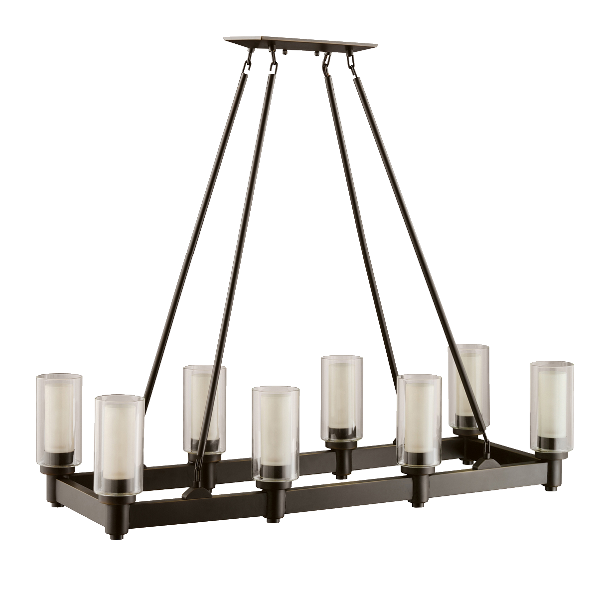 Rectangular dining room chandeliers - 8 Light Linear Chandelier In Olde Bronze Circolo Collection Kichler Lighting Pendant