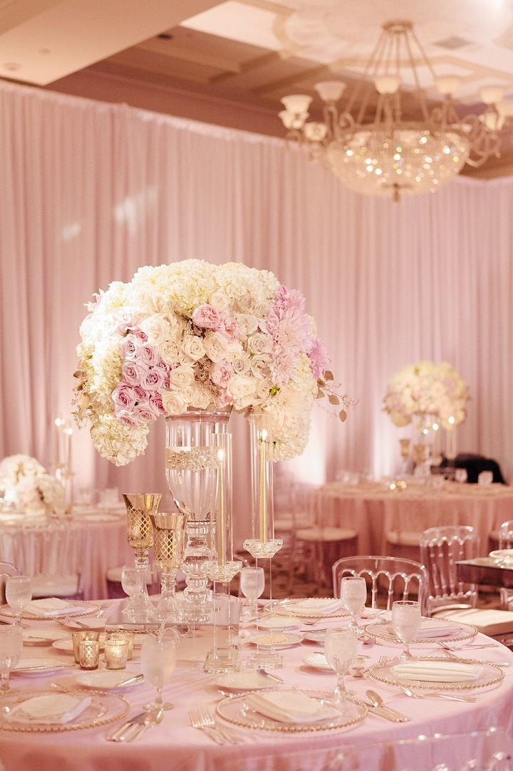 Tall Glass Vase Wedding Centerpiece Filled In With White And Blush