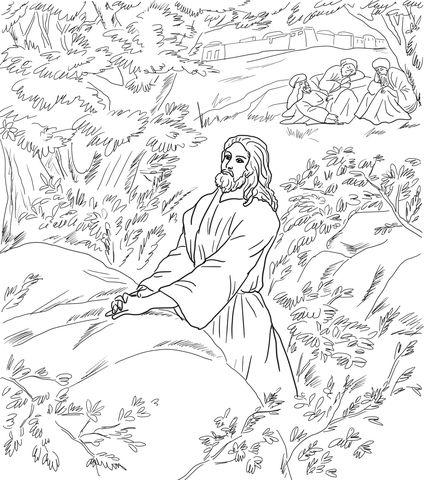 Jesus Praying In The Garden Of Gethsemane Catholic Coloring Page