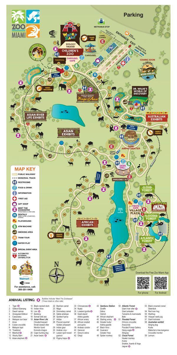 Zoo Map Zoo Miami Places to travel Pinterest Zoos and Miami