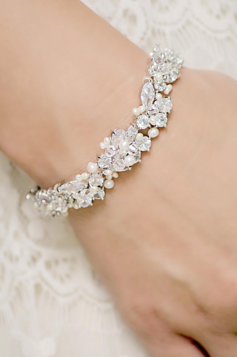 Statement Bridal Bracelet Wedding Jewelry Rhinestone Etsy Bridesmaid Jewelry Bridal Jewelry Bracelets Bridal Bracelet