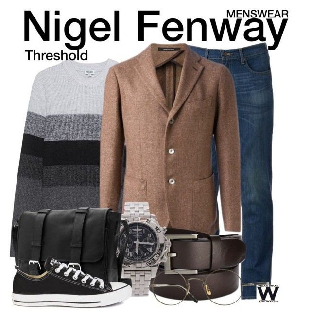 """""""Threshold"""" by wearwhatyouwatch ❤ liked on Polyvore featuring Urban Pipeline, Kenzo, Tagliatore, Kenneth Cole Reaction, Breitling, Converse, Oliver Peoples, men's fashion, menswear and television"""