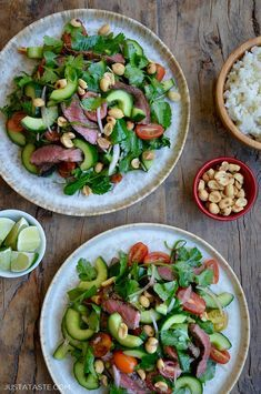 This healthy salad recipe is a lettuce-less take on a traditional Thai Beef Salad. It stars your choice of a ribeye or top sirloin steak cucumber fresh herbs and toasted peanuts all tossed in a citrusy sweet lime dressing. justataste.com #recipes #beefrecipes #saladrecipes #easyrecipe #healthyrecipe #thairecipes #justatasterecipes #sirloinsteakrecipeshealthy