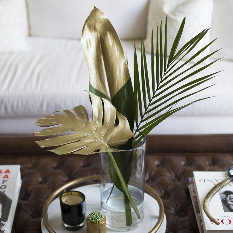 Chic Diy Gold Painted Tropical Leaves Lifestyle Tips By