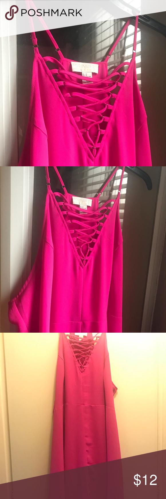 Hot pink color dress  Lace up knee length lace up dress  Online stock st dresses