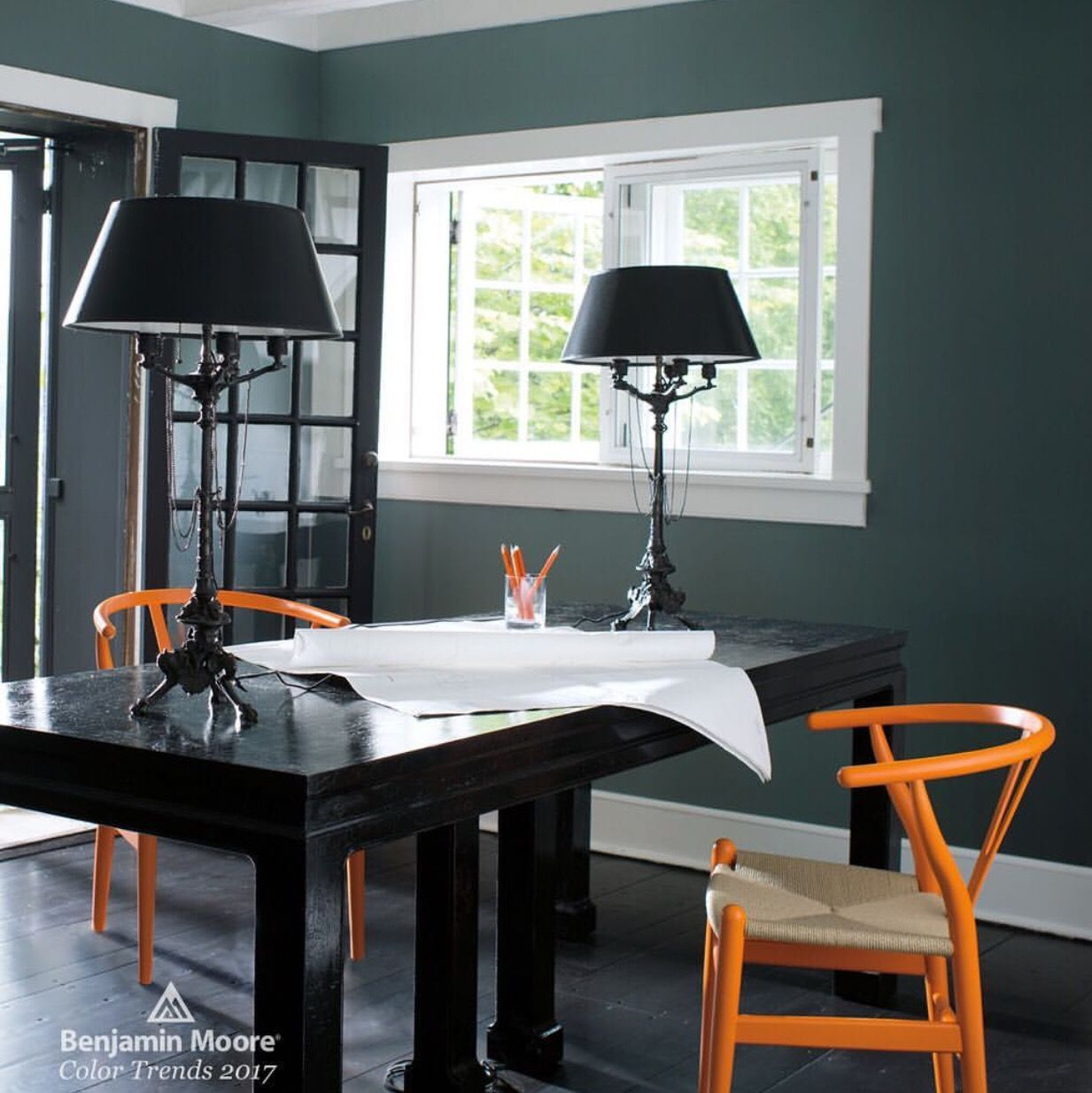 deep green blue gray bm knoxville gray hc 160 orange on green office paint color id=48161
